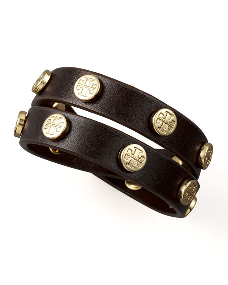 Logo-Studded Bracelet, Brown