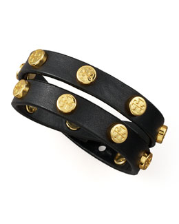Tory Burch Logo-Studded Bracelet, Black