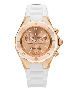 MICHELE Tahitian Large Jelly Bean Chronograph, White/Rose Gold