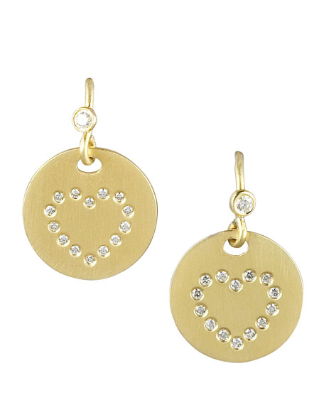 Pave Diamond Heart Medallion Earrings