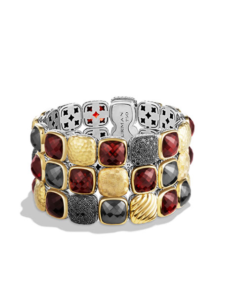 Chiclet Three-Row Bracelet with Garnet, Black Diamonds, and Gold