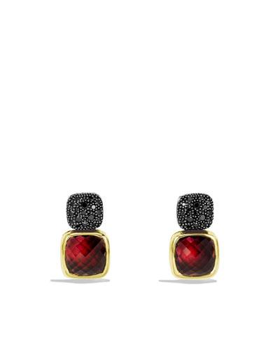 David Yurman Chiclet Double-Drop Earrings with Garnet, Black Diamonds, and Gold