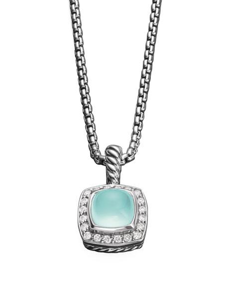 Petite Albion Necklace, Aqua Chalcedony