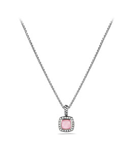 David Yurman Petite Albion Pendant with Rose Quartz and Diamonds on Chain