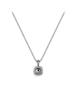 David Yurman Petite Albion Pendant with Hematine and Diamonds on Chain