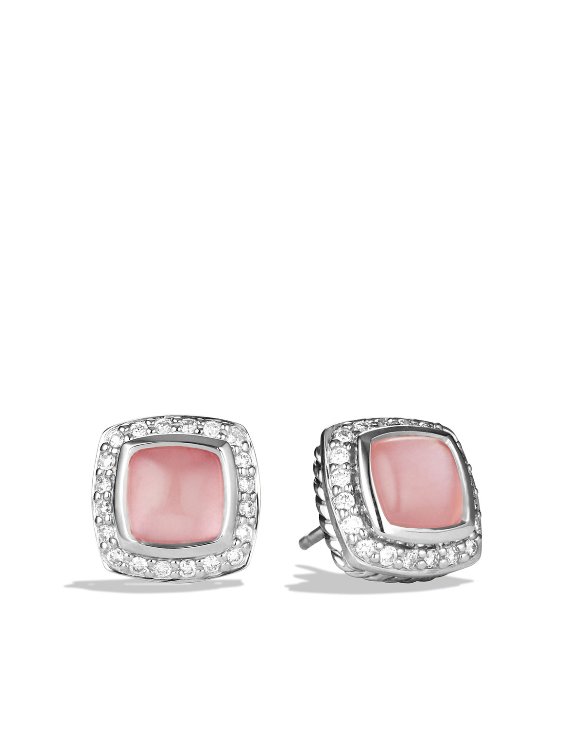Petite Albion Earrings with Rose Quartz and Diamonds