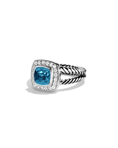 David Yurman Petite Albion Ring with Hampton Blue Topaz and Diamonds