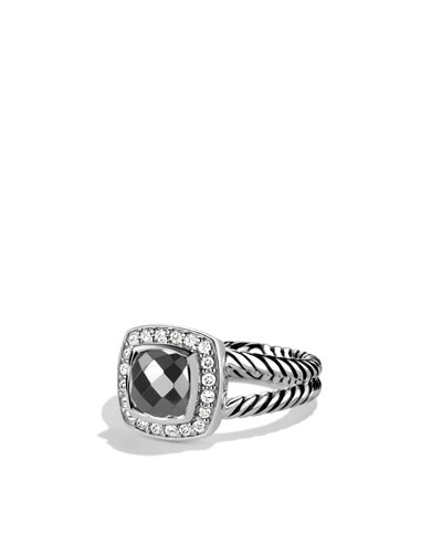 David Yurman Petite Albion Ring with Hematine and Diamonds