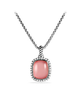 David Yurman Noblesse Pendant with Rose Quartz and Diamonds on Chain
