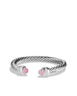 David Yurman Cable Classics Bracelet with Rose Quartz and Diamonds