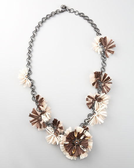 "Long Raffia Flower Necklace, 41""L"