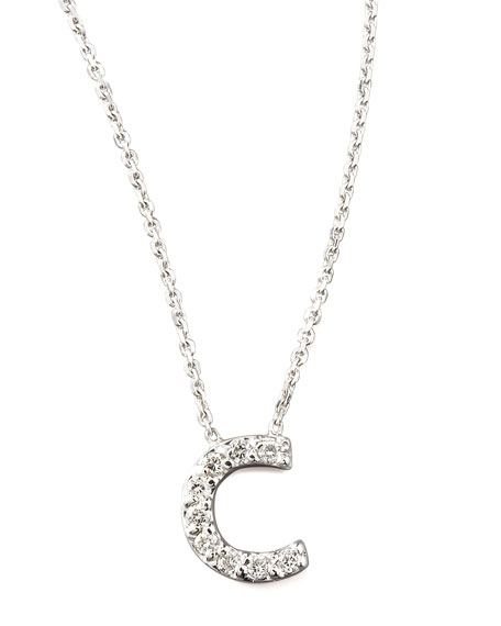 Diamond Letter Necklace, C