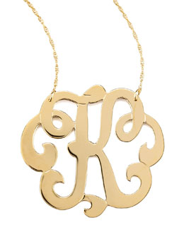 Jennifer Zeuner Swirly Initial Necklace, K