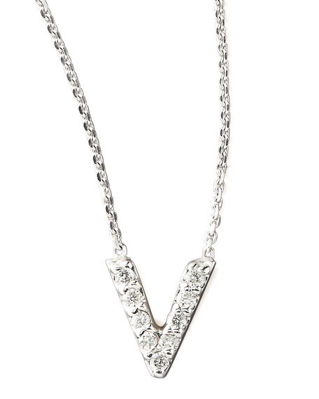Diamond Letter Necklace, V