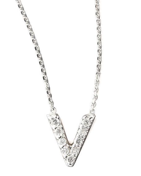 Diamond Letter Necklace, V