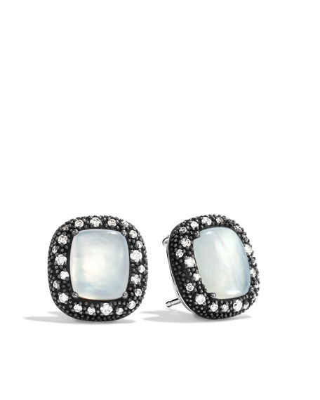 Midnight Mélange Earrings with Moon Quartz and Diamonds