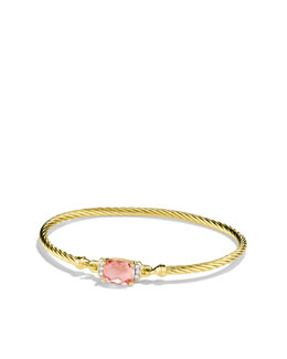 David Yurman Petite Wheaton Bracelet with Morganite and Diamonds in Gold