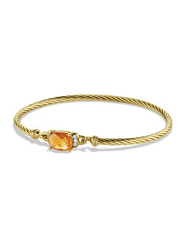 David Yurman Petite Wheaton Bracelet with Citrine and Diamonds in Gold