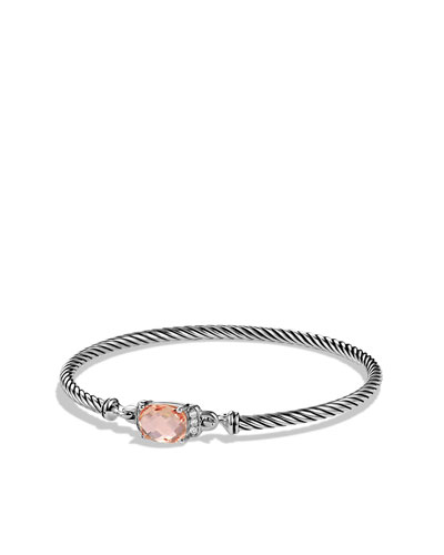 David Yurman Petite Wheaton Bracelet with Morganite and Diamonds