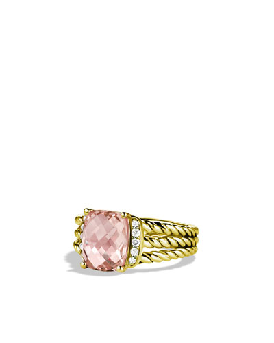 David Yurman Petite Wheaton Ring with Morganite and Diamonds in Gold