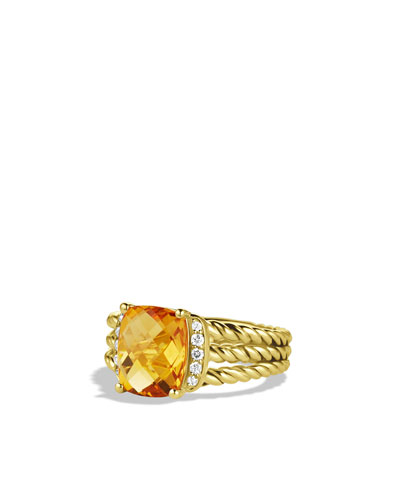 David Yurman Petite Wheaton Ring with Citrine and Diamonds in Gold