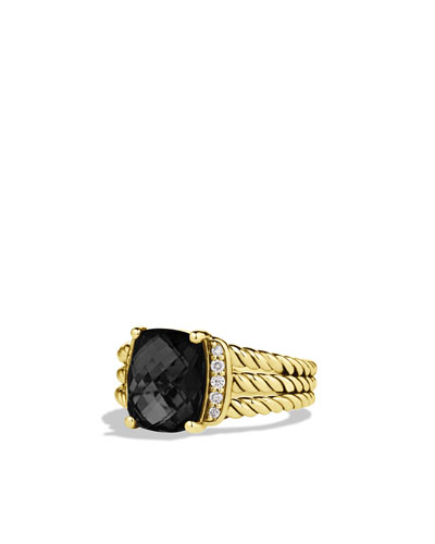 David Yurman Petite Wheaton Ring with Black Onyx and Diamonds in Gold