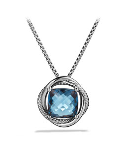 David Yurman Infinity Medium Pendant with Hampton Blue Topaz on Chain