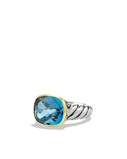 David Yurman Noblesse Ring with Hampton Blue Topaz and Gold