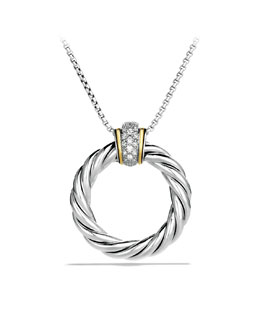 David Yurman Cable Classics Large Pendant with Diamonds and Gold on Chain