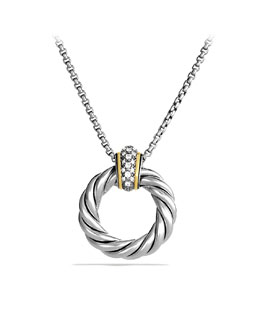 David Yurman Cable Classics Small Pendant with Diamonds and Gold on Chain