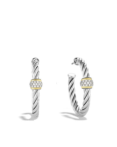 David Yurman Metro Hoop Earrings with Diamonds and Gold
