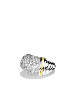 David Yurman Metro Small Dome Ring with Diamonds and Gold