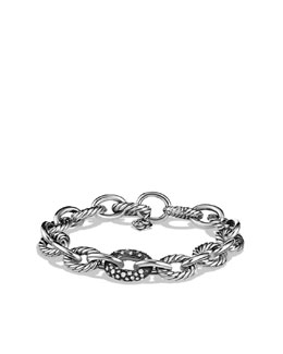 David Yurman Oval Large Link Bracelet with Black Diamonds
