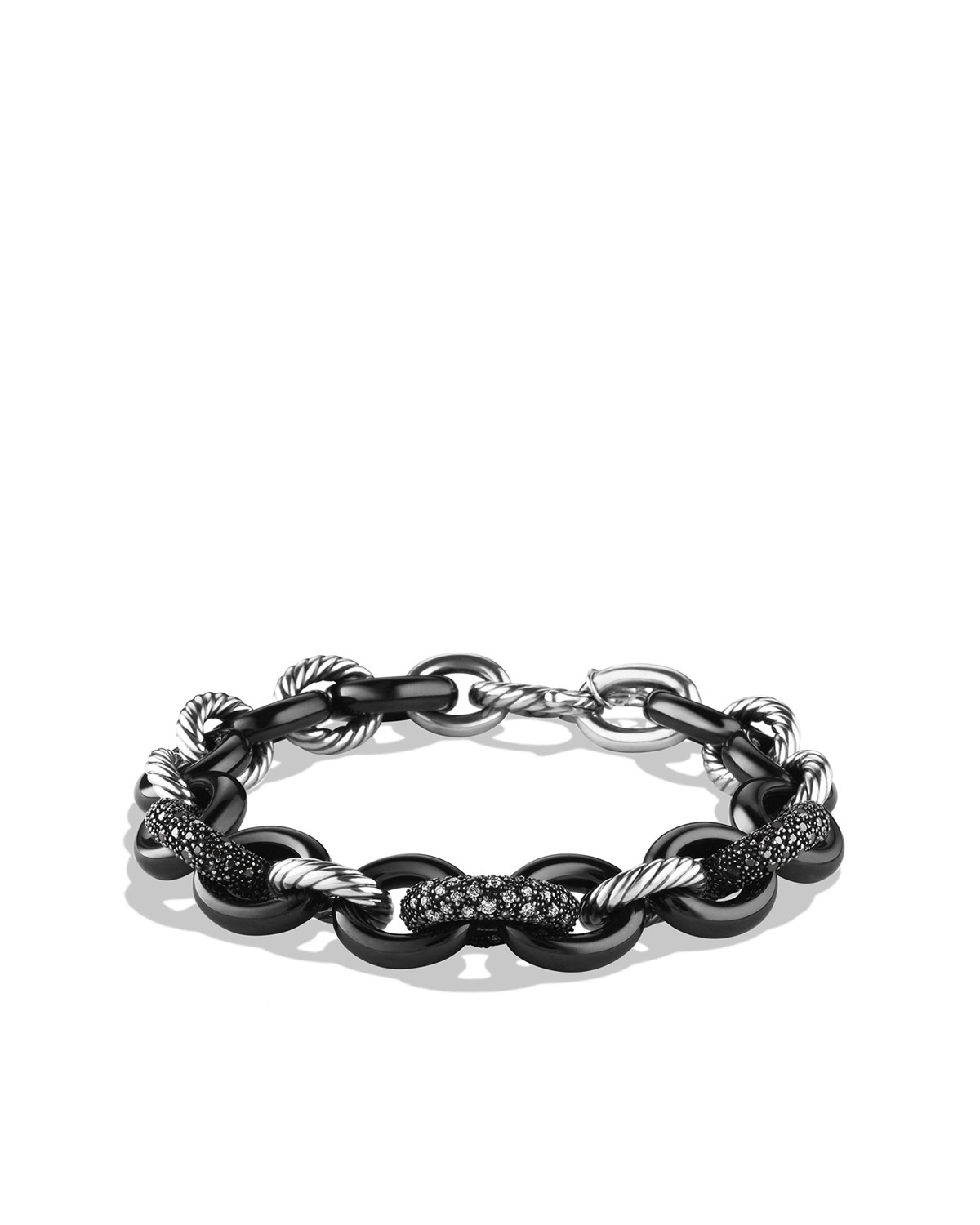 Midnight M�lange Oval Small Link Bracelet with Black and White Diamonds