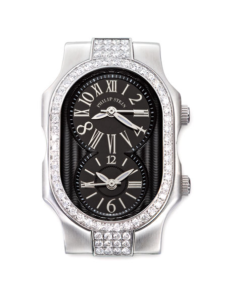 Small Signature Double Diamond Watch Head, Black Dial