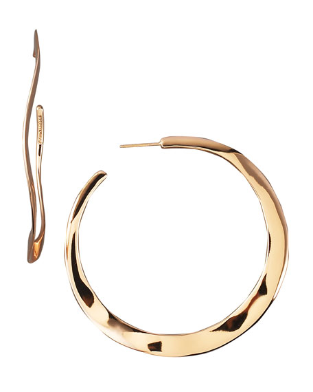 Wavy Rose Hoop Earrings, Large