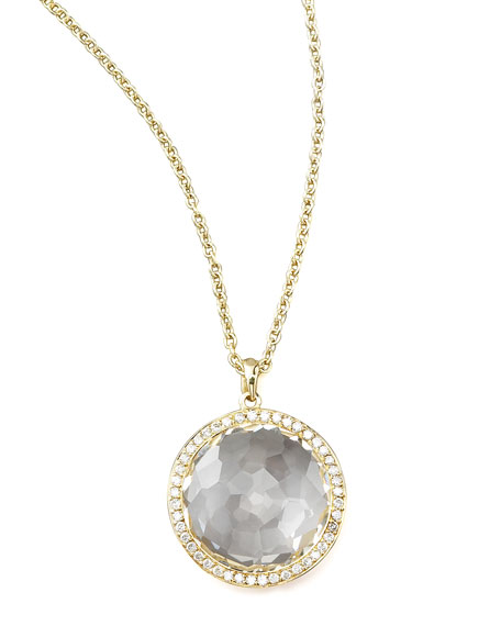 Lollipop&Reg; Medium Pendant Necklace In 18K Gold With Diamonds in Onyx from IPPOLITA