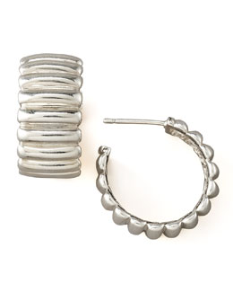 John Hardy Bedeg Silver Hoop Earrings, Small