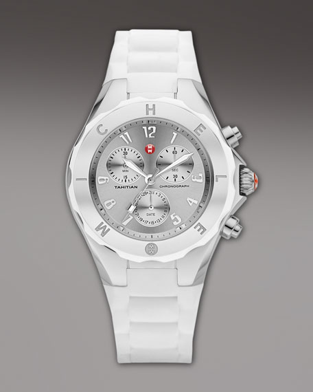 Tahitian Large Jellybean Chronograph, White/Steel