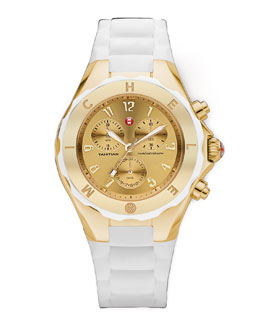 MICHELE Tahitian Large Jellybean Chronograph, White/Golden