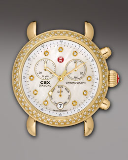 MICHELE CSX 36 Diamond-Bezel Watch Head, Gold