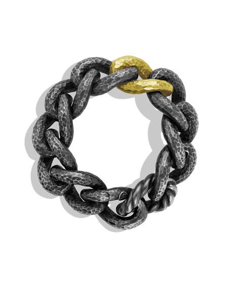 Black & Gold Curb Link Bracelet with Gold