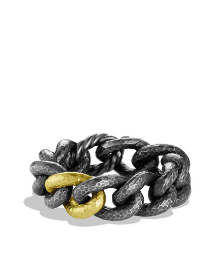 Black & Gold Curb Link Bracelet with Gold