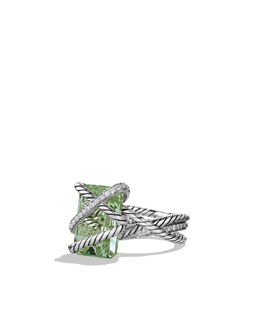David Yurman Cable Wrap Ring with Prasiolite and Diamonds