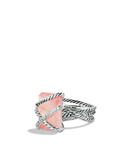 Cable Wrap Ring with Rose Quartz and Diamonds
