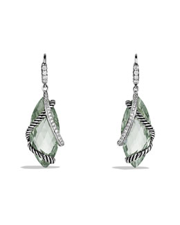 David Yurman Cable Wrap Drop Earrings with Prasiolite and Diamonds