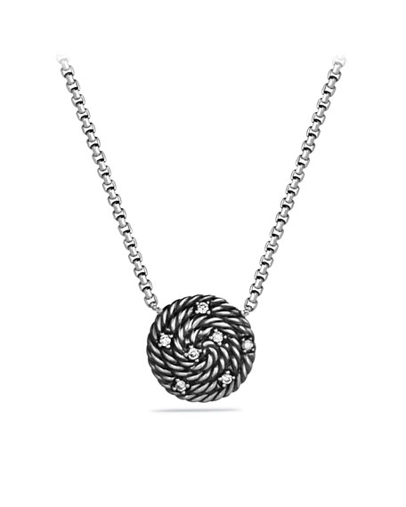 Cable Coil Pendant with Diamonds on Chain