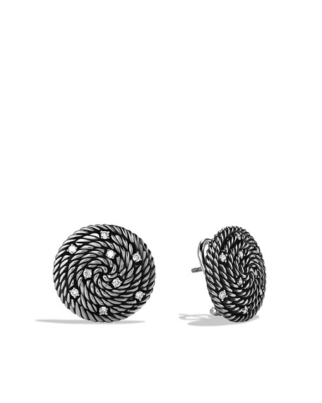 Cable Coil Earrings with Diamonds