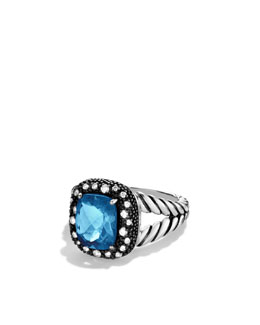 David Yurman Midnight Mèlange Ring with London Blue Topaz and Diamonds
