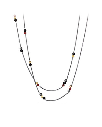 David Yurman Bead Necklace with Labradorite, Hematine, London Blue Topaz and Gold